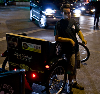 Pedicab Pilot Waits for Fare
